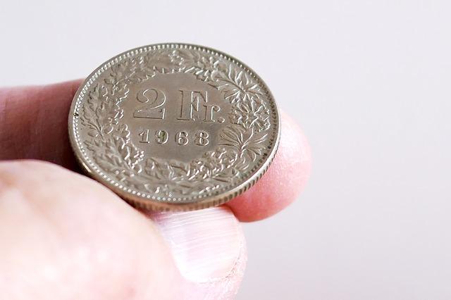 frank szwajcarski w ręku