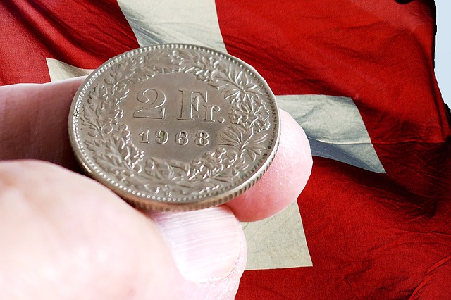 frank szwajcarski na tle flagi